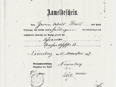 Gewerbe-Anmeldeschein 1887